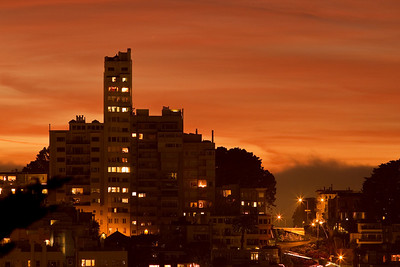Skyline and Lombard Street at Sunset