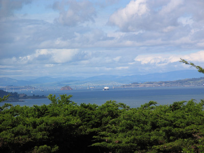 ship under the richmond-san rafel bridge