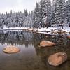 Small pond after fresh snow.  Dana Dedows, Yosemite NP, California.