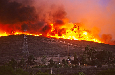 Wild fire, one mile of our house.  Olivenhain, California.