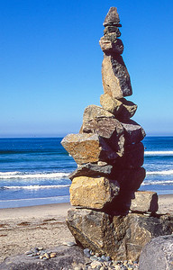 Rock art.  Cardiff beach, Encinitas, California.
