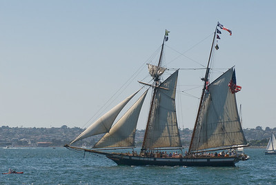 Tall ship in harbor.  San Diego, California.