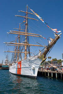 Coast Guard training ship in port.  San Diego harbor, California.
