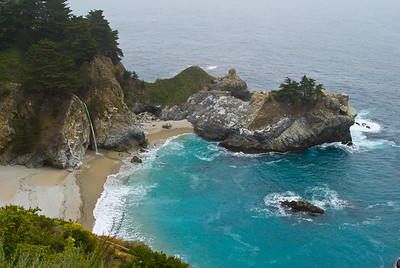 Waterfall and beach rocks.  Julia Pfeiffer Burns state park, California.