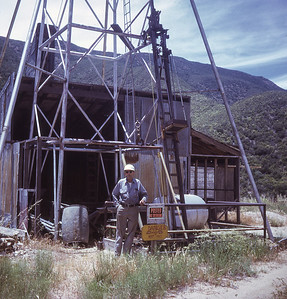 Gold miner near vertical shaft.  Chariot Canyon, Julian, California. 1971