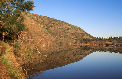 Mirror on lake Hodges, California.