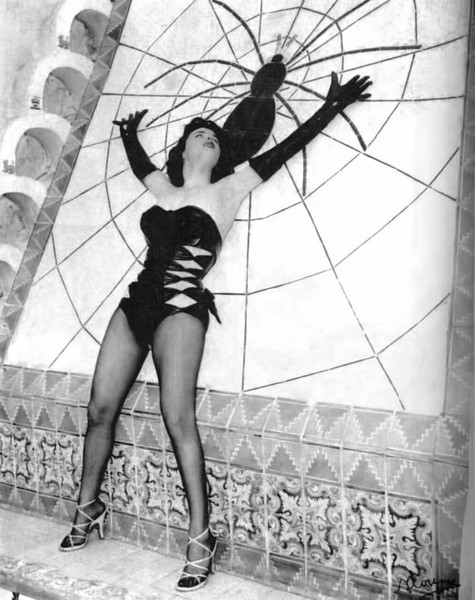 Playboy playmate Bettie Blue at the Spiderpool - abt 1956