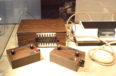 Replica of the Brown Box, the prototype of the Odyssey 1 video game (the white thing on the right).