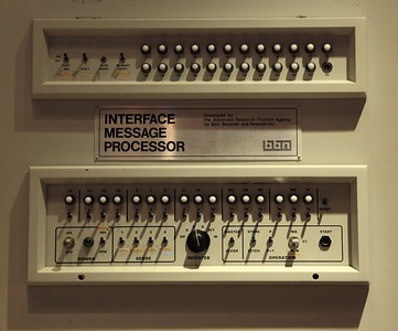 Control panel of an IMP - first-generation Internet hardware.  The full unit is larger than a fridge.