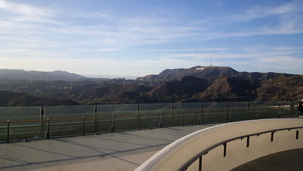 Looking toward the Hollywood sign from the Griffith Observatory parking area