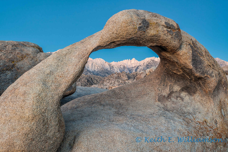 Prior to sunrise, Mount Whitney framed by Mobius, in the Alabama Hills