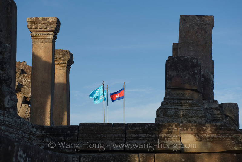 Cambodia and UNESCO flags at Preah Vihear, which has always been a disputed site between Cambodia and Thailand.