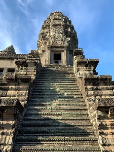 Extremely steep and narrow stairs at the top of Angkor Wat