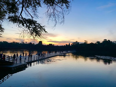 Arriving at Angkor Wat at dawn (via temporary floating bridge)