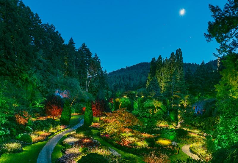 Sunken Garden at night
