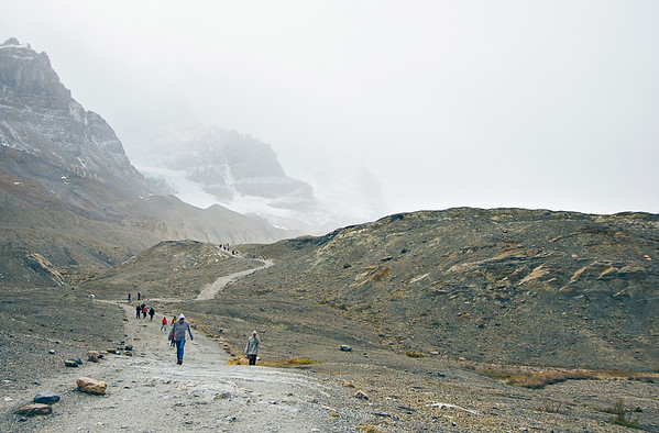 Athabasca Glacier is in the Columbian Icefield along the Icefields Parkway in Alberta Canada.  It is the most visited glacier in North America.