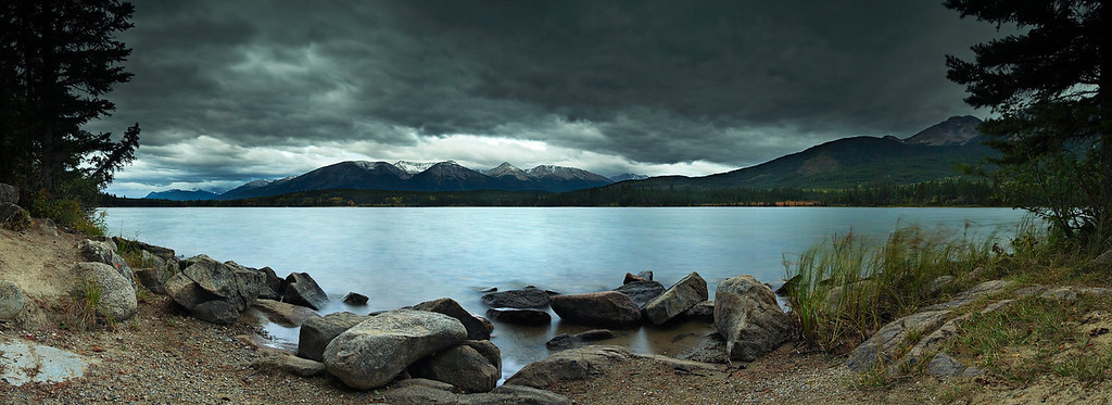 Pyramid Lake on a cloudy morning.  Jasper, Alberta Canada.