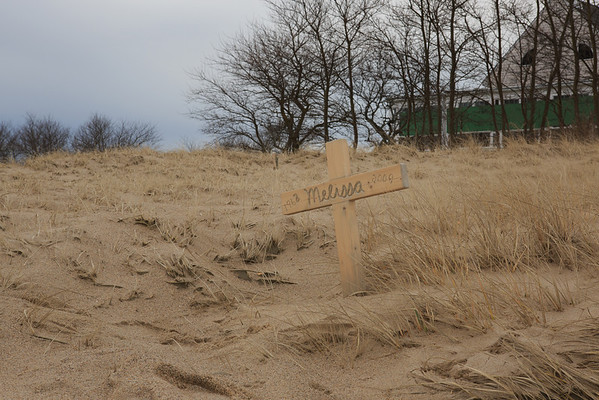 A memorial in the sand at Chatham Beach in Chatham, MA. - December 2012