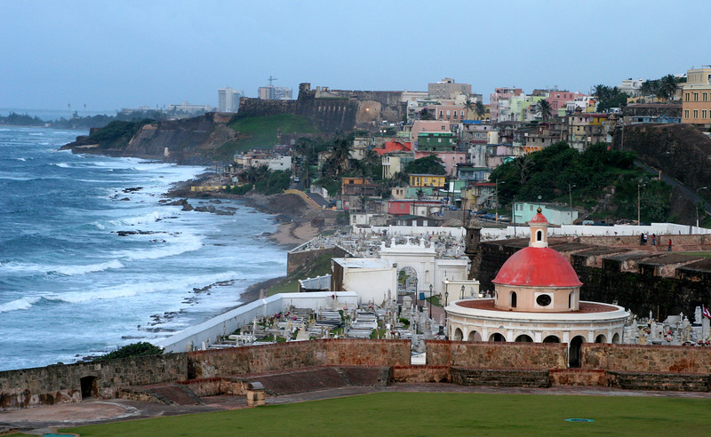 A view over the cemetery and coastline from El Morro in San Juan, Puerto Rico.