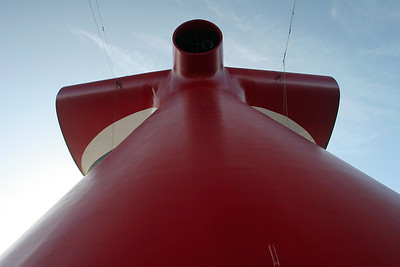 Whale tale funnel of the Carnival Triumph.