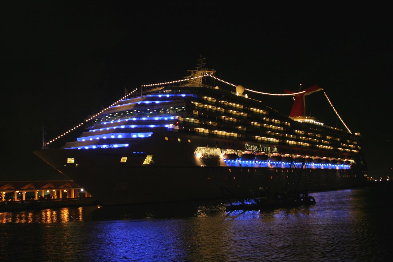 The Carnival Triumph sits in port in San Juan.