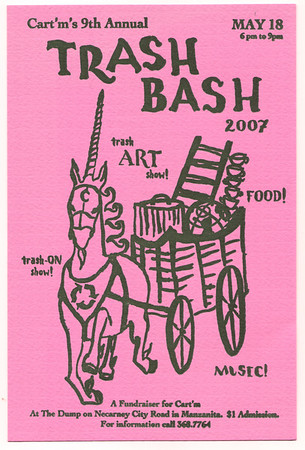 For many years, CARTM produced the Trash Bash, a community party and fund raiser featuring art made from recycled materials.