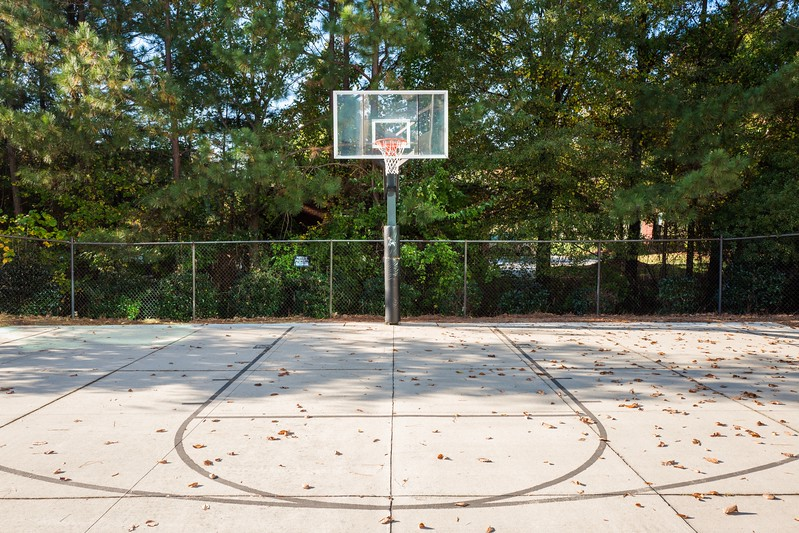 Empty basketball field in autumn in Cary, NC
