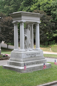 Momument in front of the Civil War Chapel at Glendale Cemetary, Akron, Ohio