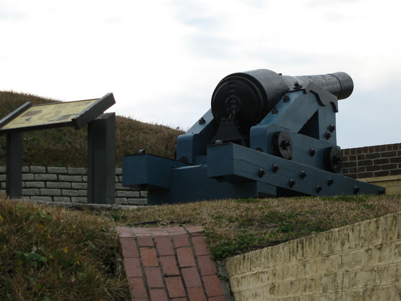 <b>Fort Moultrie - Pre-Civil War Smoothbore</b> - This cannon represents the earliest armament of Ft. Moultrie. In 1776, the fort's 30 smoothbore guns defeated ana attack by the British fleet armed with over 200 guns!