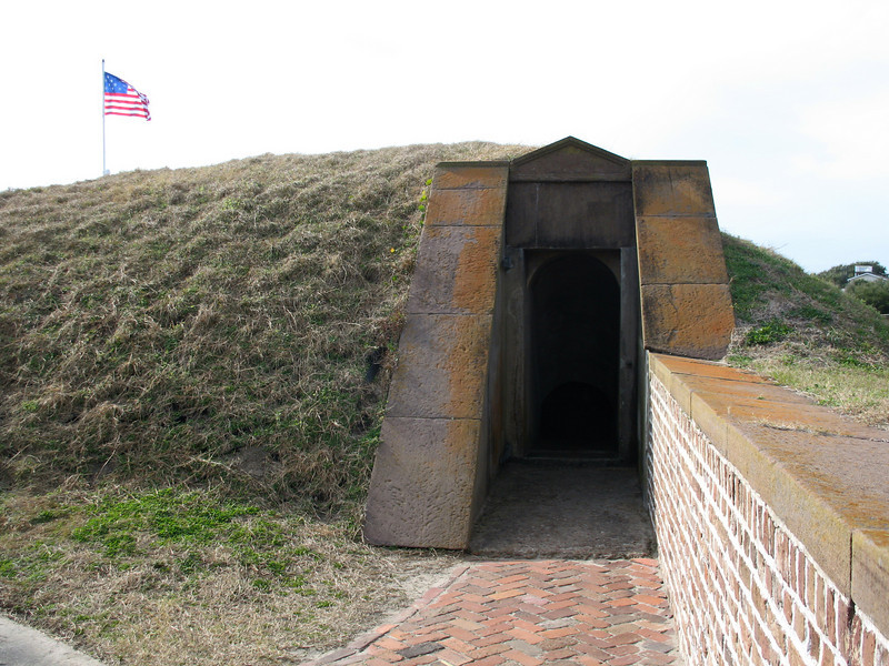 <b>Fort Moultrie - Wall</b> - There are many places where you can walk inside the walls of the fort. The walls of the fort contain numerous magazines to supply the cannon above.