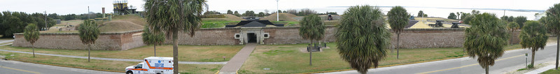 <b>Fort Moultrie</b> - Ft. Moultrie, as seen from the roof of the visitors center, protected Charleston Harbor from 1776-1946. The reconstructed fort is based on the fort built here in 1809. The interior is laid out in five sections representing the time periods it served in...Pre-Civil War, Civil War, 1870's, 1898-1939 Harbor Defense, and WW2.