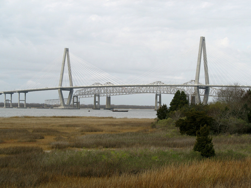 <b>New Cooper River Bridge</b> - Officially named the Arthur Ravenel Jr. Bridge, the new bridge crossing the Cooper River was opened in July 2005. As seen from Patriots Point.