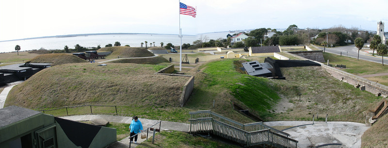 <b>Fort Moultrie - Interior</b> - The view of the forts interior from atop the WW2 Control Tower.