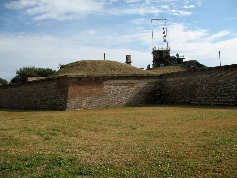 <b>Fort Moultrie - Northeast Wall</b> - The northeast wall as you enter the fort. Above the wall rises the WW2 Harbor Entrance Control Post.