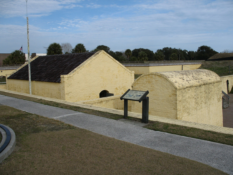 <b>Fort Moultrie - Powder Magazine Area</b> - This area represents the fort from 1809 to just before the Civil War. The building with the peaked roof is the ca. 1809 powder magazine.