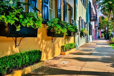 Shadows at Rainbow Row in Charleston, S.C.