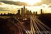 Charlotte, NC Skyline near sunset with railroad tracks and train. 2011.