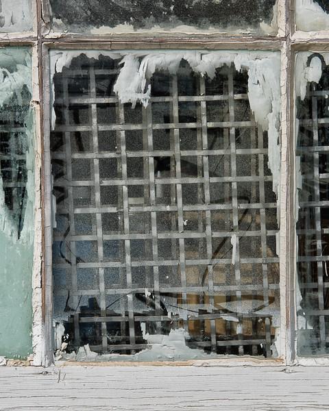Looking through a window pane.