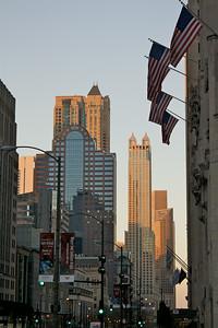 Sunlit skyscrapers