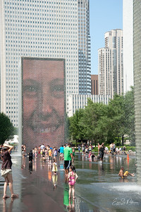This is one of the coollest water fountains I've ever seen.  I think you put your face next to a camera and it shows on the pillar.  Crown Fountain.