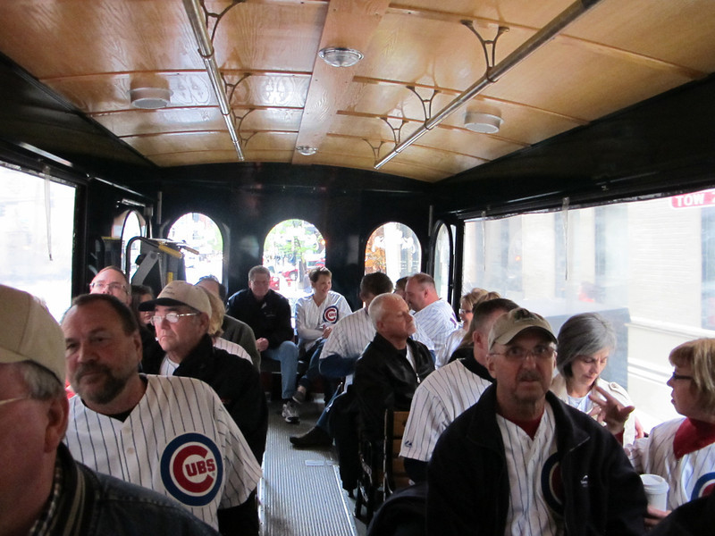 Riding the trolley to the game.  We really were having more fun than the expressions show.
