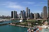 Chicago skyline with tall ships