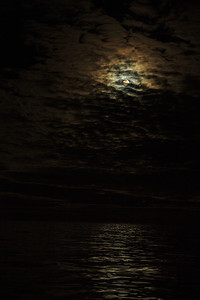 Supermoon in clouds and reflecting