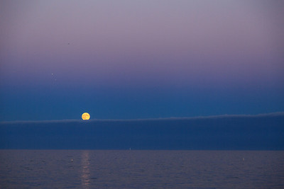 The supermoon makes an appearance over Lake Michigan