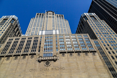 Chicago's Lyric Opera building from the river