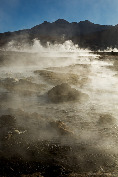 Geysers with the stream in the morning light