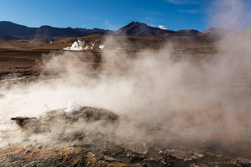 Geysers - bubbling and steaming