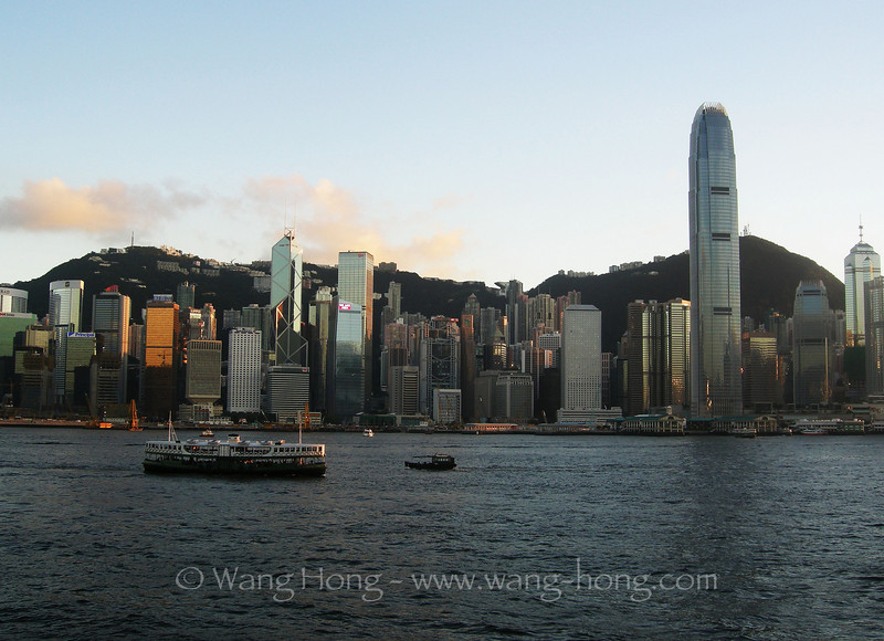 Victoria Harbour, Central & Star Ferry in late afternoon.