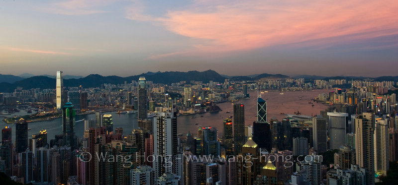 Victoria Harbour in late afternoon from the Peak, early August 2011