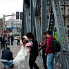 The old Garden Bridge on Suzhou Creek is a popular spot for the Chinese style wedding photo sessions. It seems at any moment during the day light, there are at least a few couples having their photos in costumes made.